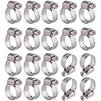 Contever 20 piezas Abrazadera de manguera de acero inoxidable ajustable de rango 13-19 mm
