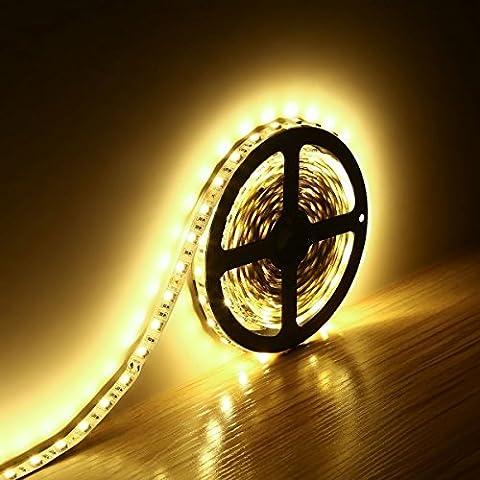 Minger Flexibel LED Streifen 5050 SMD 300 LEDs 5M/16.4ft LED Lichtband, Warmweiß, Nicht Wasserdicht IP20 LED Lichtleisten, Ideal für zu Hause und