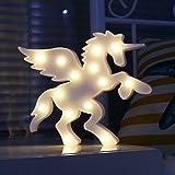 Plastikpegasus-Einhorn mit Flügel-Nachtlicht-Tier Festzelt-Festzelt-Zeichen, dekorative Innenbeleuchtung für Kinderkinderschlafzimmer, LED-Tischlampe-Stimmungs-Beleuchtung (Weiß)