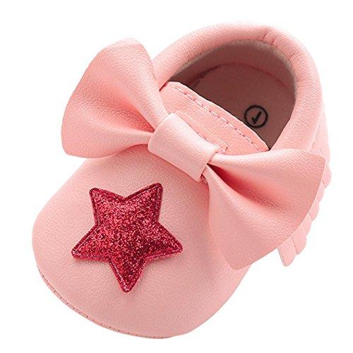 manadlian Chaussures Bébé Chaussures Bébé en Cuir Souple - Chaussons Bébé - Chaussures Premiers Pas Bébé Garçon Fille Nourrisson Étoile 6-12mois