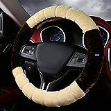 NIKAVI Fur Car Steering Wheel Cover (Brown)