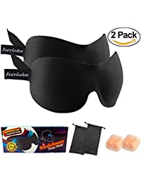 3D Contoured Sleep Mask (Pack Of 2 )New Design By Whalek - Eye Mask For Sleeping-Air Plane Blindfold With Ear...