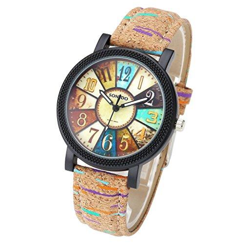 JSDDE Uhren,Retro Stil Tarnung Farbig Streifen Armbanduhr Vintage Damenuhr Holz Kork Muster PU Lederband Analog Quarzuhr - 2