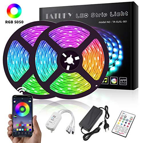LED Streifen, TATUFY Bluetooth 32.8ft/10M 300LEDs LED Strips 5050 RGB Lichterkette Sync mit Musik, wasserdichtes Lichtband mit Alexa Google APP Controller für Home Kitchen