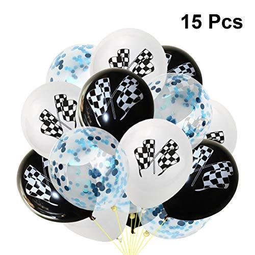 Toyvian 15 Stück Party Luftballons Schwarz und Weiß Latex Luftballons Aufblasbare Luftballons Racing Flag Luftballons