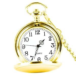 XLORDX Taschenuhr Herren Unisex Quarz Uhr mit Halskette Kette Uhr Pocket Watch Silber