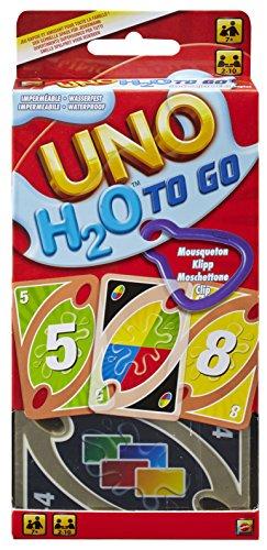 Mattel Games P1703 UNO H2O To Go Kartenspiel mit Kunststoffkarten in einer wasserdichten Tasche, geeignet für 2 - 10 Spieler, Spieldauer ca. 15 Minuten, ab 7 Jahren