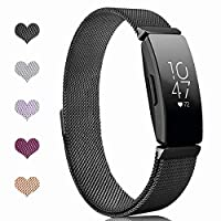 "Sport Watch Wristband for Fitbit Inspire Bands and Fitbit Inspire HR Band Stainless Steel Metal Strap Bracelet Loop Replacement for Women Men, Black(5.1"" - 8.5"")"