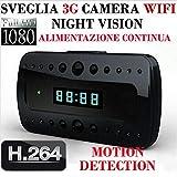Telecamera Spia Orologio-sveglia 1080P HD videocamera nascosta Microcamera videocamera Sicurezza Wireless ip camera Interno Spy Cam WIFI Fotocamera con micro SD 16 GB