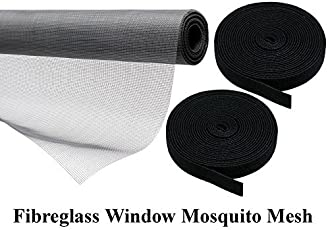 Lifestyle-You Heavy Quality 110 GSM PVC Coated Fibreglass Window Insect Mosquito Mesh Net with Hook & Loop Tape for Installation (Dark Grey)