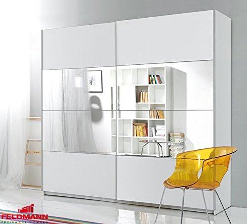 Schwebetürenschrank Kleiderschrank 540251 weiß Spiegel 200cm