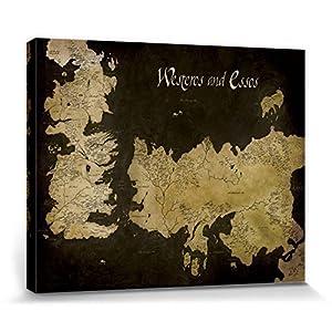 1art1 Juego De Tronos - Mapa Antiguo De Westeros Y Essos Cuadro, Lienzo Montado sobre Bastidor (50 x 40cm) 2