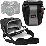 Petite Sacoche pour Nikon Coolpix P610 et L840, Canon PowerShot SX410 IS et Pentax XG-1 appareils photo Bridge NU - en noir / gris, boucle de ceinture et bandoulière - DURAGADGET