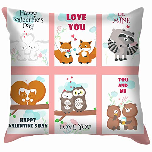 beautiful& Set Valentine Day Cards Cute Animals Wildlife Animal Throw Pillows Covers Accent Home Sofa Cushion Cover Pillowcase Gift Decorative 18X18 Inch (Cartoons Chipmunks Halloween)