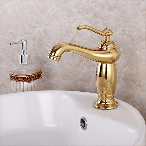 Hlluya Wasserhahn für Waschbecken Küche Das Kupfer Messing vergoldet Bad Armatur Waschbecken unter den heißen und kalten Licht Gottes Gold antik Wasserhahn
