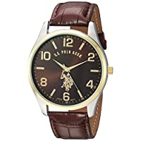 U.S. Polo Assn. Classic Men USC50225 Watch with Brown Faux-Leather Strap