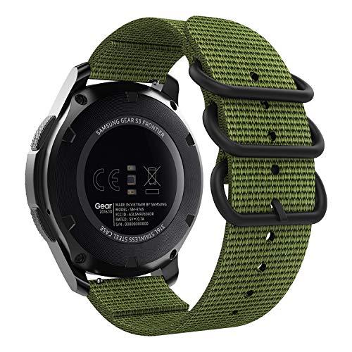MoKo Cinturino per Samsung Gear S3/Gear S3 Classic/Frontier/Galaxy Watch 46mm/Moto 360 2nd 46mm, Morbido Braccialetto Regolabile in Nylon + Connettore - Army Green
