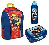 Familando Rucksack Set Feuerwehrmann Sam 3tlg. mit Brotdose und Trinkflasche z.B. für den Kindergarten / Krippe FSBT7631
