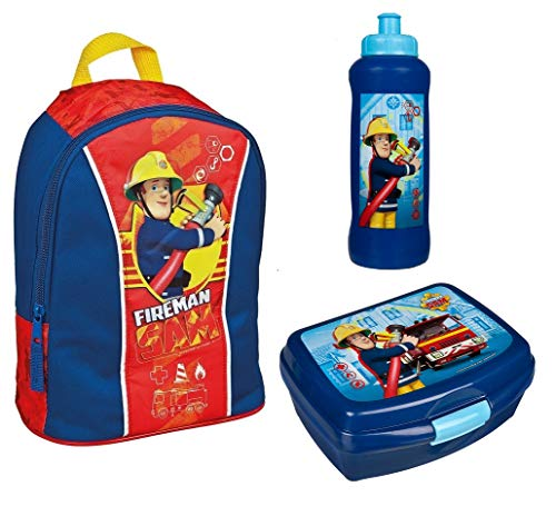 feuerwehrmann sam set Familando Rucksack Set Feuerwehrmann Sam 3tlg. mit Brotdose und Trinkflasche z.B. für den Kindergarten / Krippe FSBT7631
