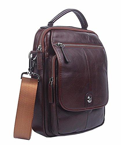 Everdoss Umhängetaschen Herren Business Messenger Bag echt Leder Schultertasche Cross Body mit Schultergurt Kaffee