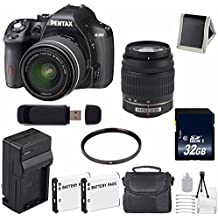 Pentax K-50 DSLR Camera With 18-55mm And 50-200mm Lenses (Black) + Replacement Lithium Ion Battery + External Rapid Charger + 32GB SDHC Class 10 Memory Card + Deluxe Starter Kit 6AVE Bundle