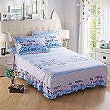Wddwarmhome Blue Stripe patrón cama falda algodón estilo - Best Reviews Guide