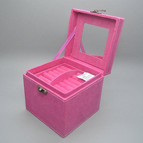 Contever® Flanelle Morceau de Boîte à Bijoux ; Rangement Affaire, 12.5 X 12.5 X 12 CM -- Rose rouge
