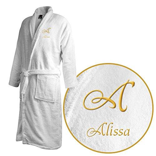 Bademantel mit Namen Alissa bestickt - Initialien und Name als Monogramm-Stick - Größe wählen White