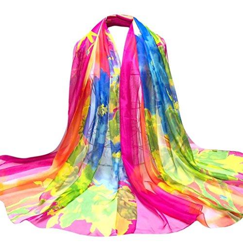 OverDose Damen Schal, Fashion Lady Tücher Splash Tinte Blumen Lange Wrap Frauen Schal Chiffon Schal Halstuch Seide Schals (Booty Weißes T-shirt)