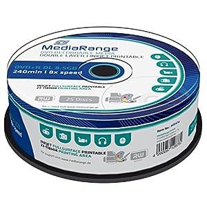 MediaRange DVD+R vergini full face printable stampabili Dual Double Layer 8,5GB 8x 240min. Cake 25