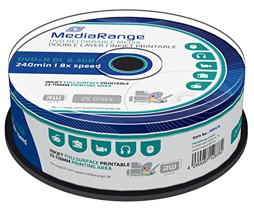 MediaRange MR474 DVD+R Double Layer 8,5GB (8 x Speed, bedruckbar, 25 Stück) 120 Gb-dvd-cd