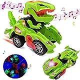 FOHYLOY Transforming Dinos Car, Jouet de Dinosaure Qui Bascule dans Une Voiture de Course, Jouet éducatif pour Enfants garçons et Filles de 3 à 6 Ans (Vert)