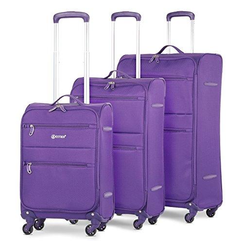 5 Cities Leichtgewicht 4 Rollen Trolley Koffer Kofferset Gepäck-Set Reisekoffer Rollkoffer Gepäck, 3 teilig, (lila)