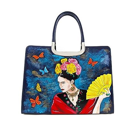 Hand-painted genuine leather top-handle bag – TRIBUTE TO FRIDA KAHLO - Women's Bag, Hand Bag, Genuine Leather, Made in Italy, Painted Leather, Handbag and Shoulder Bags,