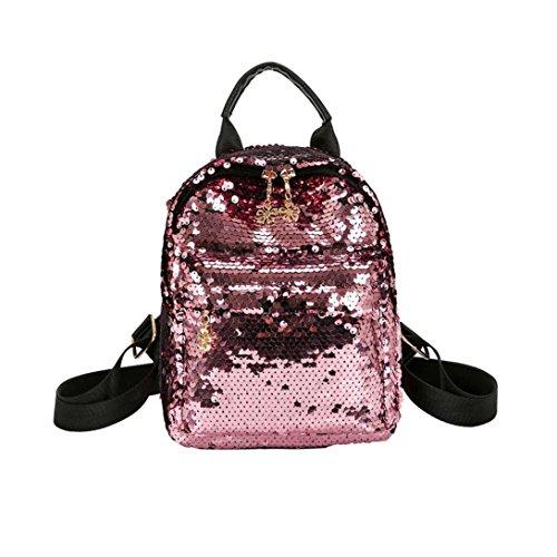 Beikoard Satchel da Viaggio con Paillettes Stile Shinning Glitter Bling (Rosa)