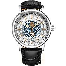 Stuhrling Original Reloj de Vestir para Hombre de día/Noche – Caja de Acero Inoxidable