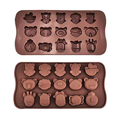 Mudder 2 Stück Tier Silikon Schokoladen Süßigkeit Gelee