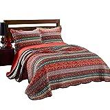 HomeFurnishing.s Die bettwsche Tagesdecke Bettwäsche 3 Teilig 100% Baumwolle Decke Soft Couch Überwurf 230 x 250 cm und 2 Kissenbezüge 50 x 70 cm - Retro Streifen - bettwäsche im Ethno-Stil