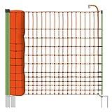 Filet volaille 50m H : 112cm orange EURONETZ 15 piquets double pointe clôture...