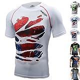 Khroom T-Shirt de Compression de Super-héros pour Homme | Vêtement Sportif à Séchage Rapide pour Fitness, Gym, Course, Musculation | Matériel Extensible et Ventilé Anti Transpiration Spiderman Blanc