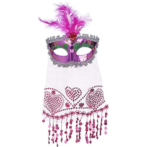 TeasyDay Halloween Feather Veil Mask, venezianischen Stil Deluxe Halbmaske, Pfauenfasan Feder, für Jede Partei, Maskerade Party Augenmaske, 18x10cm (Deluxe Sexy Pfau Kostüm)