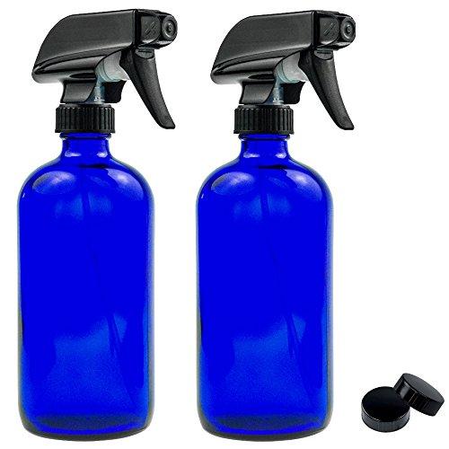 - Haut-reiniger-spray-flasche (Leere blaue Glas-Sprühflasche - groß, 454 ml, nachfüllbarer Behälter für ätherische Öle, Reinigungsmittel oder Aromatherapie, schwarzer Sprüher mit Sprühnebel- und Strahleinstellungen, 2 Stück)