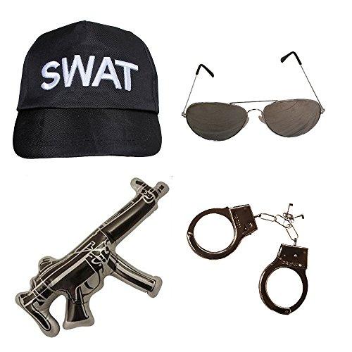 Déguisement accessoires du groupe d'intervention Américain SWAT avec une casquette + une paire de lunettes + des menottes + une arme gonflable pour adulte. Ideal pour les enterrements de vie de garçon.