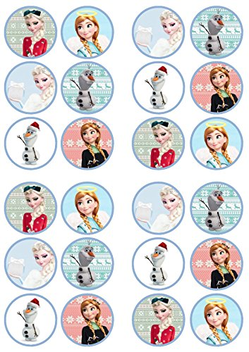 Christmas Frozen Edible PREMIUM THICKNESS SWEETENED VANILLA,Wafer Rice Paper Cupcake Toppers/Decorations