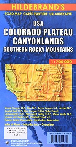 Carte routière : USA, Colorado Plateau, Canyonlands, Südliche Rocky Mountains par Carte Hildebrand