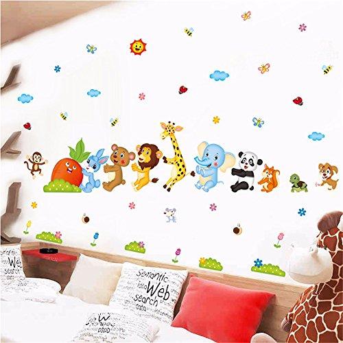 Wandtattoos WandbilderCartoon kleine Tiere Karotten Wandaufkleber Papier Schlafzimmer Kinder Zimmer Nacht Dekoration Kinderzimmer Wand Aufkleber abnehmbare 60 * 90cm -