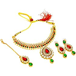 Jewar Mandi Necklace Set Kundan Polki Jade Red Green Gemstone With Tika Jewelry 6749 for womens girls