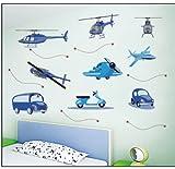 Kinderzimmer Wandsticker Helikopter Flugzeuge Autos Wandtattoo Wandbilder Aufkleber