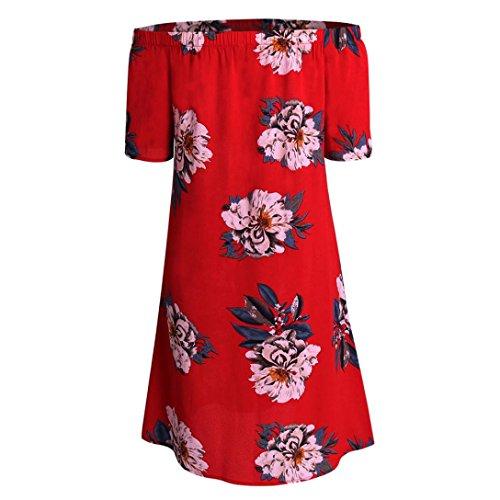 Frauen Röcke VENMO Frauen Sommer Kurzarm Aus Schulter Blumendruck-Beiläufiges Kleid Red