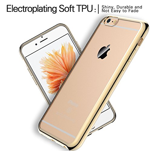SMART LEGEND Cover per Apple iPhone 6/6s Morbido Silicone Case Scratch Resistant Plating Case Soft Silicone Custodia TPU Bumper Clear Trasparente Protective Back Cover Crystal Clear Case Ultra-Slim Sm Oro